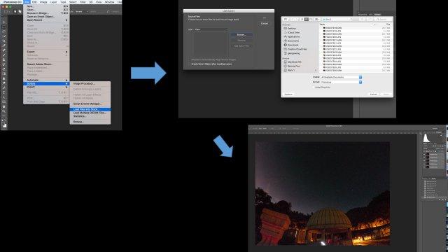 "選擇Scripts內Load Files into Stack,按""Browse""選擇相片,之後按OK"