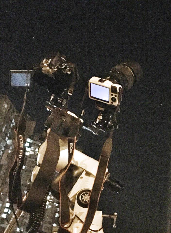 圖中是Meade LXD75 裝上Canon 650d 和Canon EOS-M, 一wide一tele試機拍攝中
