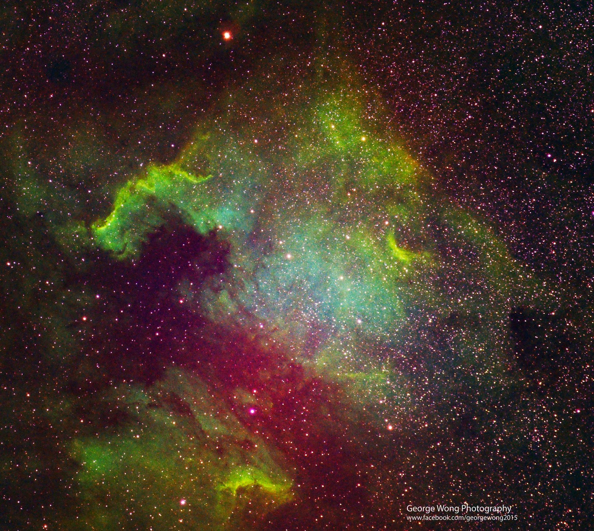 星途22 – 第一張假色相片-北美洲星雲哈勃色 – 2015 August